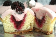 Lemon Cupcakes with Blackberry Puree and Blackberry Buttercream.