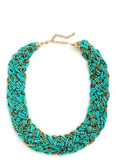 Glitz Mob Necklace in Turquoise. Edit your ensemble to feature the flashy beading of this braided necklace! #blue #modcloth