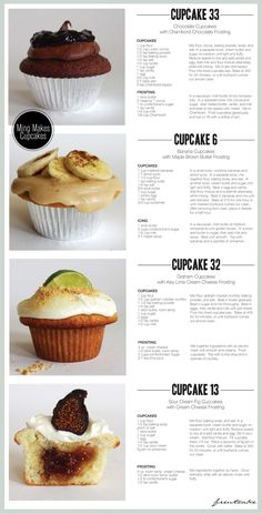 Sour Cream Fig Cupcakes w/ Cream Cheese Frosting Delicious Cake Recipes, Yummy Cakes, Sweet Recipes, Dessert Recipes, Yummy Food, Gourmet Cupcake Recipes, Frosting Recipes, Baking Business, Bakery Business Cards