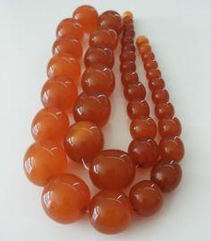 Antique Vintage Natural Baltic Amber Olive Large Beads Necklace   #Handmade #Necklace