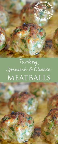 Turkey, Spinach & Cheese Meatballs #meatballs #turkey