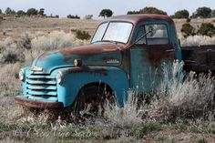 Old Blue Chevy Pickup in field photograph 4x7