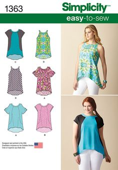 Simplicity Creative Group - Misses' Loose-Fitting Top With or Without Sleeves