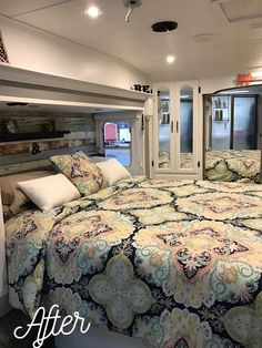 beautiful rv remodel - love the white walls gray trim, wood-look wallpaper headboard and COMFORTER! Mobile Living, Rv Living, Home And Living, Bedroom Themes, Bedroom Decor, Bedroom Ideas, Bedrooms, Wallpaper Headboard, New Mobile Homes