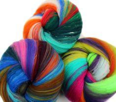 Gemmy Batts - 4 oz. merino wool and silver sparkle  by hobbledehoy