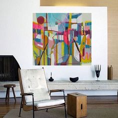 Bold colorful large Abstract art oil painting by Danielle Nelisse completes interior design accessories Contemporary Abstract Art, Modern Art, Bedroom Artwork, Painting Inspiration, Decoration, Art Online, Buy Art, Art Paintings, 6 Months