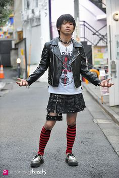 This is such a rad one! Punky kilt and stripey socks - yes, the men can do it too!