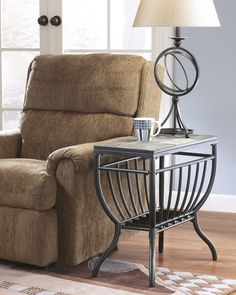 """Antigo collection gun metal color metal frame and natural slate top rectangular chair side end table. This includes the chair side end table only with natural slate tiles.  End table measures 12"""" x 24"""" x 24"""" H.  Optional Coffee table , end table and cocktail table with casters available separately.  Some assembly required"""