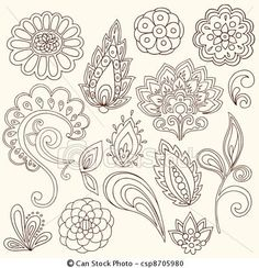 Vector - Henna Paisley Tattoo Doodles Vector - stock illustration, royalty free illustrations, stock clip art icon, stock clipart icons, logo, line art, EPS picture, pictures, graphic, graphics, drawing, drawings, vector image, artwork, EPS vector art