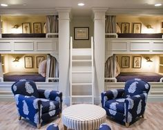 I love that the ladders goes into an entry way! They have curtains on the bunk beds! Although I don't like the pictures or seating area. I would have different colors on the fabric and the seats would be solid or stripped patterns, as well as the ottoman.