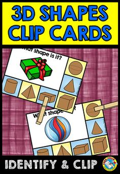 REAL LIFE 3D SHAPES CLIP CARDS  This fun Math Center (focusing on 3D SHAPES) will surely engage all students. It is perfect to practice identifying and matching real life 3D shaped objects.   This resource contains 40 clip cards. Children have to identify the shape of each object and clip a clothes pin onto the matching shape.