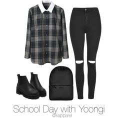 School Day with Yoongi by kapparel on Polyvore featuring polyvore, fashion, style, Carven, Topshop, Rains and clothing