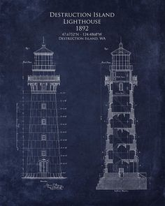 Split rock lighthouse architectural blueprint art by scarletblvd nautical blueprint google search malvernweather Image collections