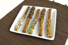 A fun, magical peanut free treat kids can help make. SunButter Pretzel Wands are a colorful party table addition, or tie in cellophane bag for gift giving. Allergy Free Recipes, Snack Recipes, Vegan Recipes, Mini Chocolate Chips, Melting Chocolate, Nut Free, Dairy Free, Dipped Pretzel Rods, Peanut Allergy
