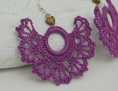Crochet earrings  Large crochet earrings  Crochet by lindapaula, €11.00