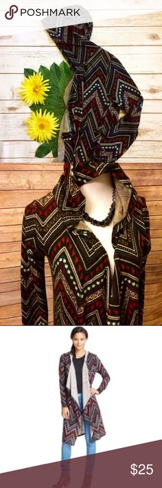 Aztec Print Waterfall Front Cardigan (Duster) Very cute & trendy long hooded cardigan. Multicolor Aztec Pattern featuring teal, purple, red, white, & brown on a black background. Would pair great with many outfits! 95% Polyester, 5% spandex. Almost Famous Sweaters Cardigans