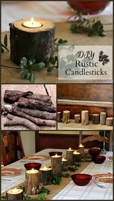 How to Make Rustic Candle Holders In About an Hour This tutorial for rustic log candlesticks costs virtually nothing to make and only takes about 1 hour for nine pretty candlesticks. Rustic Christmas, Christmas Crafts, Christmas Decorations, Deco Spa, Rustic Candle Holders, Diy Décoration, Deco Table, Wood Slices, Diy Candles