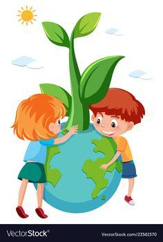 Children holding eco earth vector image on VectorStock Earth Day Drawing, Earth Drawings, Art Drawings For Kids, Drawing For Kids, Planet Earth Images, Earth For Kids, Save Earth Posters, Boarders And Frames, School Murals