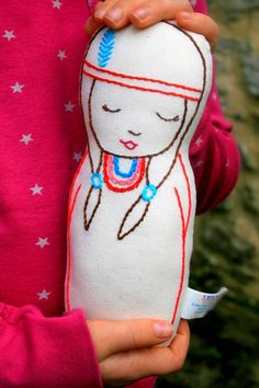 Joy Native American Inspired Linen doll plush toy by leilalou