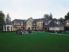 This luxurious shingle-style home plan has an imposing presence while still reta. This luxurious shingle-style home plan has an imposing presence while still retaining an air of informality. The formal living room opens to. House Plans And More, Luxury House Plans, Large House Plans, Luxury Floor Plans, Shingle Style Homes, Craftsman Style Homes, Plans Architecture, Huge Houses, Fancy Houses
