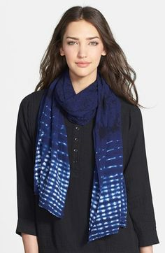 Eileen Fisher Tie Dye Print Cotton Scarf available at #Nordstrom