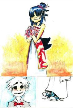 wedding unfinished crappy concept by Psychoon on DeviantArt 2d And Noodle, Art Puns, Jaguar, Gorillaz Art, Comic Manga, Love Is Free, Ship Art, Metalhead, Me Me Me Song