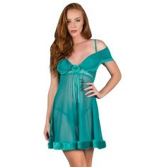 Aerusi Women's Adult Lingerie Night Wear Fur Trim Ruched Chemise with G-String Thong, Size: One size, Blue Transgender Transformation, Girly Girl Outfits, Light Turquoise, Lace Back, Fur Trim, Nightwear, Floral Lace, Lingerie, Summer Dresses
