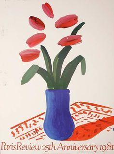 """Vintage David Hockney Poster in colors on woven paper. Featuring David Hockney's """"Flower Study"""" from 1980, created for the 1981 Paris Review. Signed in ink lower right."""