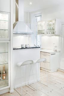 white tiny kitchen - clean, crisp modern and full of character, too. Tiny Spaces, Small Apartments, Bright Kitchens, Home Kitchens, Cocinas Kitchen, Small Apartment Design, Piece A Vivre, White Rooms, Small Space Living