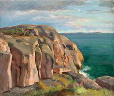 Eero Järnefelt (1863-1937): CLIFFS ON THE SHORE OF KAIVOPUISTO. - Eero Järnefelt oli vastaanottavainen 1800-luvun naturalistisille virtauksille. Hänen tuotantonsa oli korkeatasoista ja hän oli työssään kunnianhimoinen.Hänen sukutaustansa, joka yhdisti suomenkieliset kulttuuripyrinnöt ja pietarilaisen aristokratian taidepiirit,oli omiaan luomaan paatoksellisia ja runollisia teoksia.