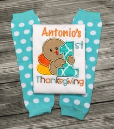 A personal favorite from my Etsy shop https://www.etsy.com/listing/251830869/my-1st-thanksgiving-shirt-onesie-or-bib