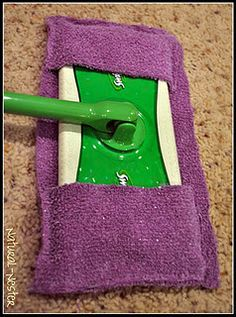 Make your own swiffer sweeper dry cloth out of an old towel and using a sewing machine! So much easier and will save you money! (Can also be used as a mop/wet cloth if you use a separate floor cleaner)