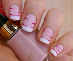 French Tips and Pink Stripes