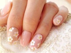 sequins beads flowers neutral wedding nails