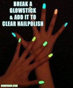 DIY-Ideas-Glow-in-the-dark-nails. Wouldn't Emily  Naomi love this:) lol | Look around!