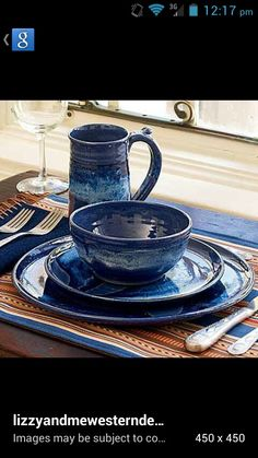 Blue enamel & Brown and Turquoise Kitchen Decor | Monarch Dinnerware Collection ...
