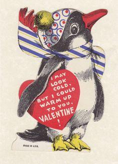 Vintage penguin valentine