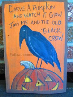 Halloween Acrylic Painting on Old Wood Black Crow & Glowing Carved Pumpkin FTMA