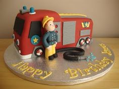 Fireman Sam with his Engine Fire Engine Cake, Fireman Sam Cake, Celebration Cakes, 3rd Birthday, Cake Decorating, Food And Drink, Cupcakes, Baking, Celebrities