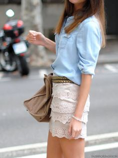 LOVE. appropriate length and super cute with tanks, boots, belts or denim/other collar shirts. chambray & lace skirt http://www.studentrate.com/fashion/fashion.aspx