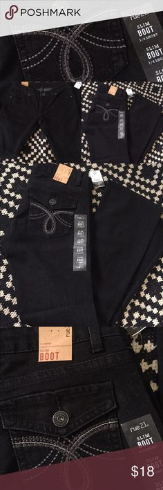 NWT Rue 21 Slim Boot Black Denim New with tags Rue 21 Slim Boot Black Denim size 3/4 Short. Bundle this item with anything in my closet for 20% off your purchase Jeans