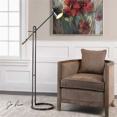 CHISUM FLOOR LAMP This steel lamp features a delicate stature with a wide footprint, finished in a plated, dark oil rubbed bronze, accented with antique brass details. The shade arm is adjustable in height and shade pivots left and right. Bronze Floor Lamp, Floor Lamps, Space Furniture, Accent Furniture, Oil Rubbed Bronze, Bronze Finish, Steel Frame, Home Accessories, Bulb