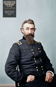 Brigadier General Nathan Kimball (USA) Nathan Kimball was born in Fredericksburg, Indiana on 22 November He attended the Washington County Seminary and then Indiana Asbury College (DePauw University) from 1839 to 1841 before leaving to teach. Colorized Historical Photos, Union Army, Major General, American Revolutionary War, America Civil War, Civil War Photos, World War I, American History, Abraham Lincoln