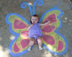 Butterfly chalk art. Did this with my 6 year old daughter!