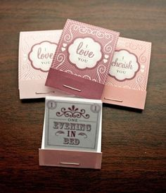 """Good """"FG"""" idea: Love Coupon Matchbooks: Sweet matchbooks filled with love coupons redeemable at any time. CUTE idea. Beautiful execution."""
