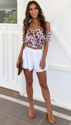 185b62d10 Mura Boutique, Online Fashion Boutique, Red Flowers, Online Boutiques,  White Shorts,