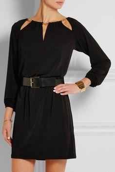 MICHAEL Michael Kors|Mini-robe ceinturée en jersey stretch à finitions chaîne|NET-A-PORTER.COM