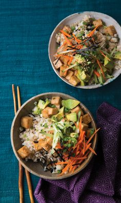 Crisp tofu bites are perched atop nori-flecked sushi rice for a comforting meal in a bowl.