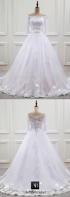 Exquisite Tulle Off-the-shoulder Neckline Ball Gown Wedding Dress With Lace Appliques & Belt