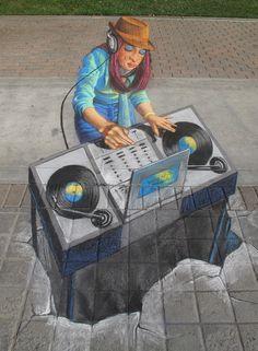 3D chalk, #DJ